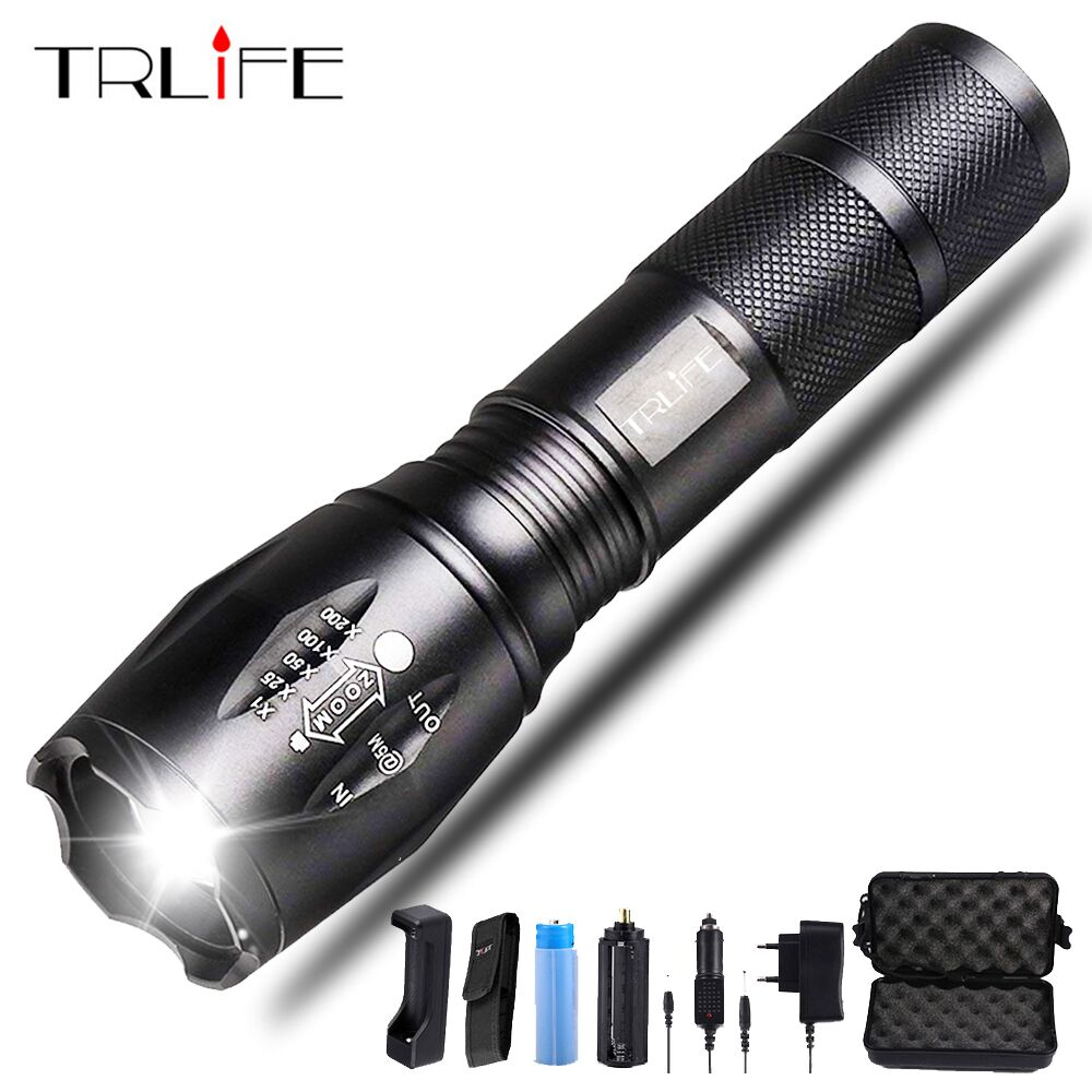Led Flashlight Ultra Bright Torch T6/L2/V6 Flash Light 5 Switch Modes Zoomable Bike Light By 18650 Battery For Camping,Fishing