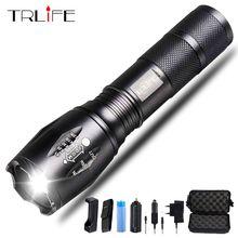 цена на 6000 Lumens Flashlight CREE XM-L T6 Torch High Power Adjustable LED Flashlight +DC/Car Charger+18650 Battery+Holster Holder
