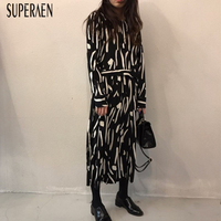 SuperAen корейский стиль Темперамент Повседневное модные женские туфли платье Новая осень 2018 кружевное плиссированное платье с длинным рукаво...