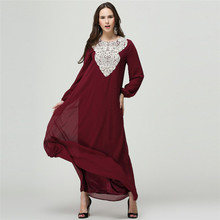 Embroidered Burgundy Women Muslim Dress Plus Size Long Turkish Islamic Clothing Long Sleeves Moroccan Arab Middle East Djellaba plus size arab embroidered open front blouse