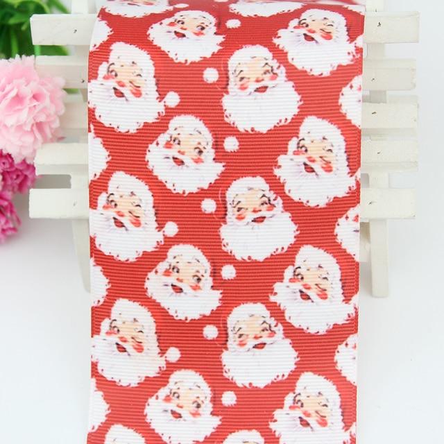 red cartoon santa claus printed grosgain ribbon 75mm diy christmas bows ribbons christmas tree decorations for - Diy Christmas Bows