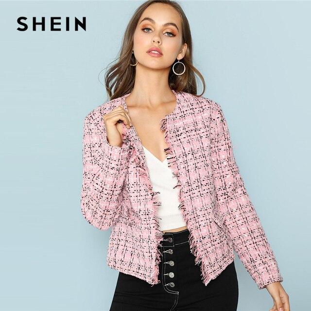 d147162aa5 SHEIN Multicolor Elegant Office Lady Frayed Edge Plaid Tweed Blazer 2018  New Fashion Autumn Highstreet Women Outwear
