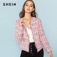 SHEIN Multicolor Elegant Office Lady Frayed Edge Plaid Tweed Blazer 2018 New Fashion Autumn Highstreet Women Outwear