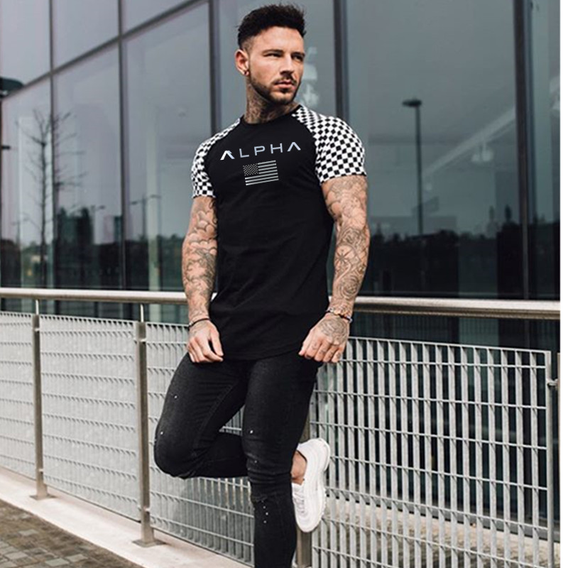 HTB11lxbL7PoK1RjSZKbq6x1IXXaE 2019 Fashion stitching T Shirt Men Cotton Breathable Mens Short Sleeve Fitness t shirt Crossfit Gyms Tee Tight Casual Summer Top