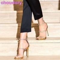 Women Gladiator Sandals Sky High Heels Gold Silver Triple Straps Bling Bling Crystal Sandals Glittering Rhinestone