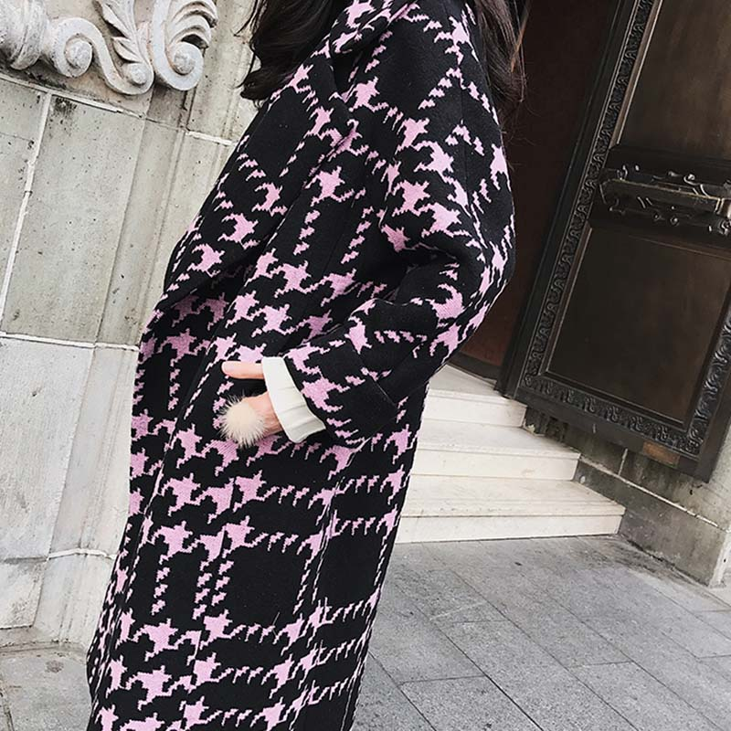 2019 Manches Manteau Nuw185 Mode Femmes En D'hiver Photo À S Color De Nouveau Long Tempérament Plaid Moyen Longues Taille Laine Grande l pqSxxBf8