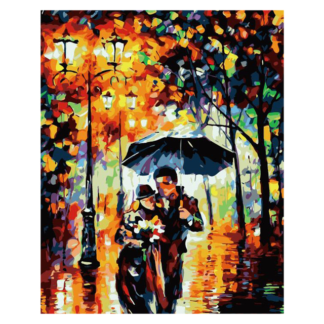 Us 6 98 49 Off Rain Couple Umbrella Light Figure Diy Digital Painting By Numbers Modern Wall Art Canvas Painting Unique Gift Home Decor 40x50cm In