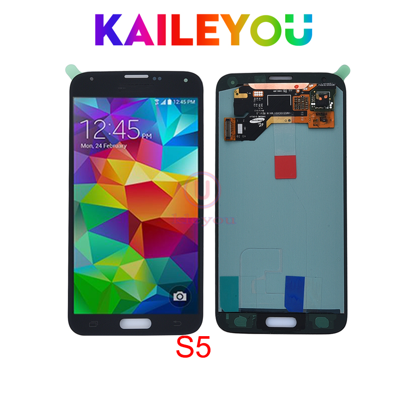 Super AMOLED For Samsung S5 lcd SM G900 SM G900F G900 I9600 LCD Display Touch Screen