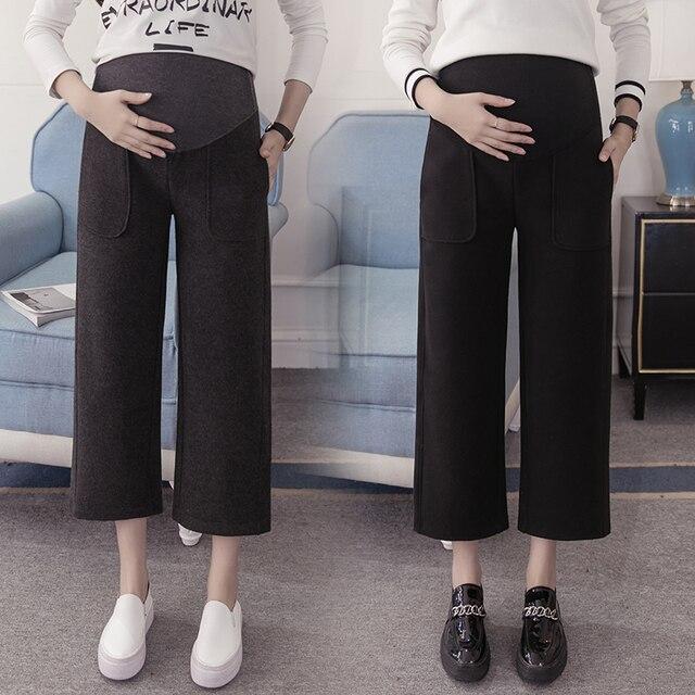 2017 материнства платье весна новые широкие брюки ноги шерсть девять центов свободные живота брюки одежда беременных женщин брюки