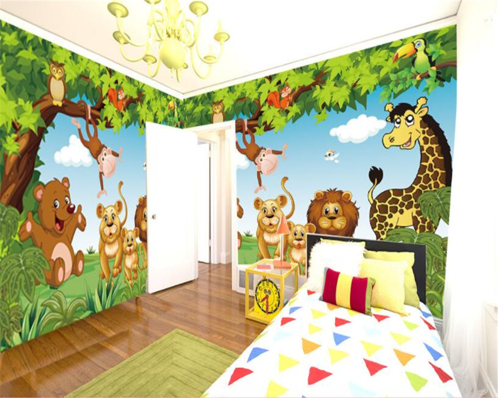 US $8 85 OFF Beibehang Custom 3D Wallpaper Cartoon Animal Woods Children Bedroom Background Decoration 3d Children Wallpaper Papel Mural Papel