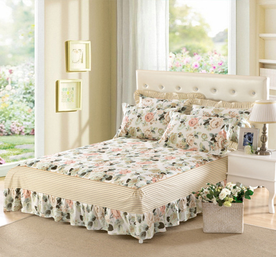 Flowers Double / Single / Bed Bed Skirt Bed Skirt 100% Cotton Bed Cover  Cotton Pad Lace Elasticity Mattress Cover Luxury Bedding In Bed Skirt From  Home ...