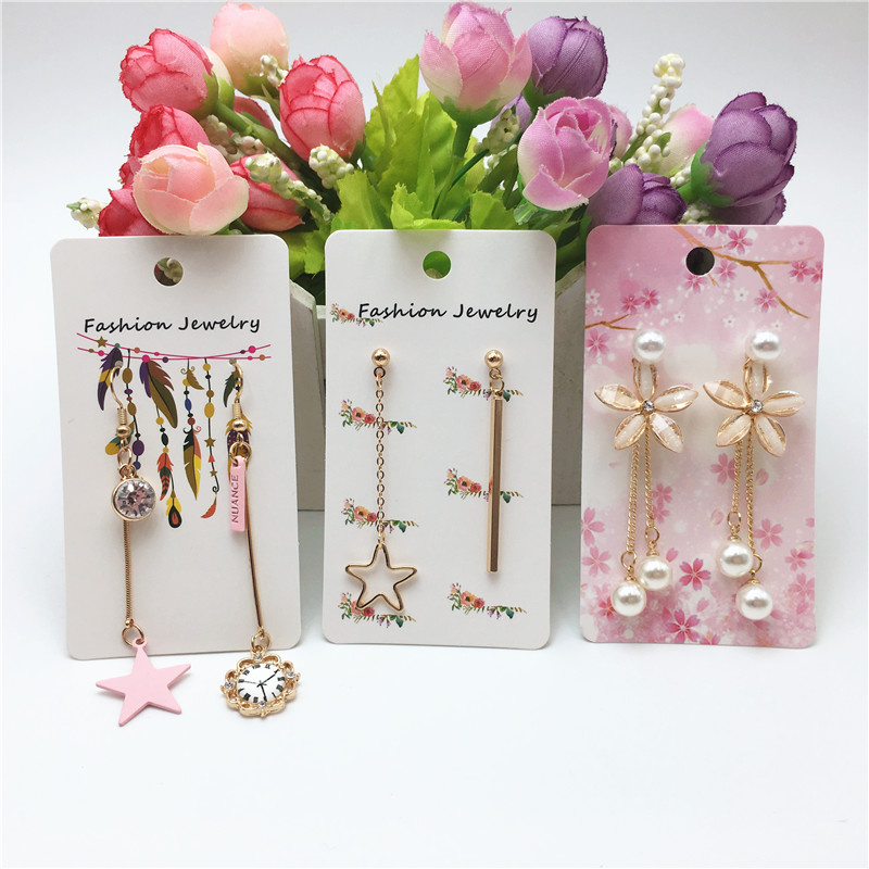 Cute 12pcs/lot 9x5cm New Designs Paper Necklace Earring Display Packaging Card Girl Jewelry Pendant Chain Display Card