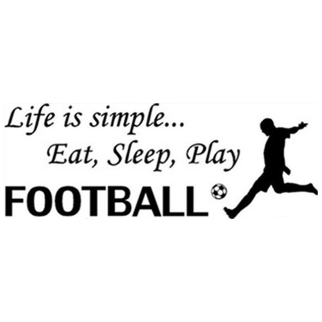 soccer quotes wall decals life is simple eat sleep play football vinyl stickers home decoration mural