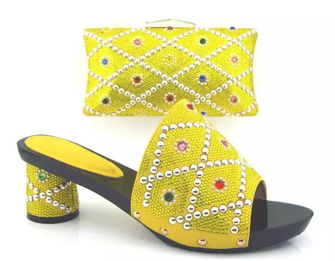 ФОТО 2017 Italian New Design High Heel Shoes And Bag Set African Style Sandal Shoes With Yellow Bag For Wedding TH02 Size 38-43
