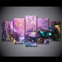 5 Pcs Framed Printed Psychedelic Light Butterfly Wall Picture Painting On Canvas For Living Room Art Poster Print Schilderij