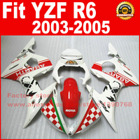 ABS plastic motorcycle fairings set for 2003 2004 2005 YAMAHA YZF R6 R6 03 04 05 red white fairing kits body repair parts