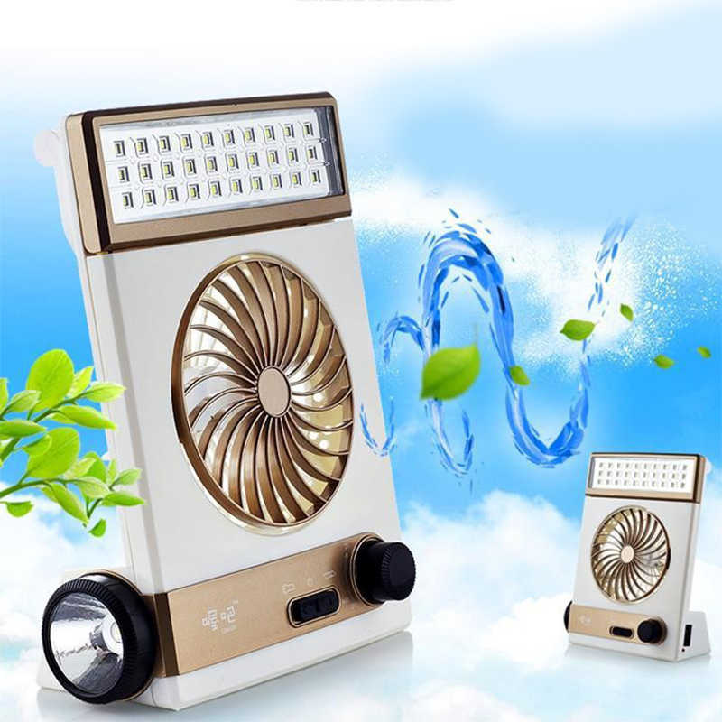 Portable Solar Power Multi-function Rechargeable Eye-Care LED Desk Table  Lamp Flashlight Mini Adjustable Cooling Air Fan 3-in-1