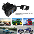 12-24 V 4.2A Dual USB Porto Adaptador de Tomada Do Carregador Do Carro Do Telefone Carga rápida Azul LED Vermelho Voltímetro para Carro Barco Motos painel