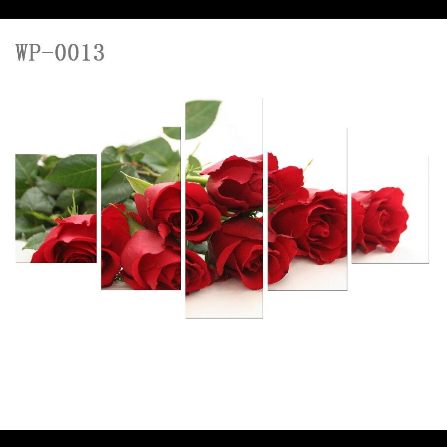 Hd Cetak Lukisan Minyak Kamar Anak Nordic Bunga Mawar 5 Piece