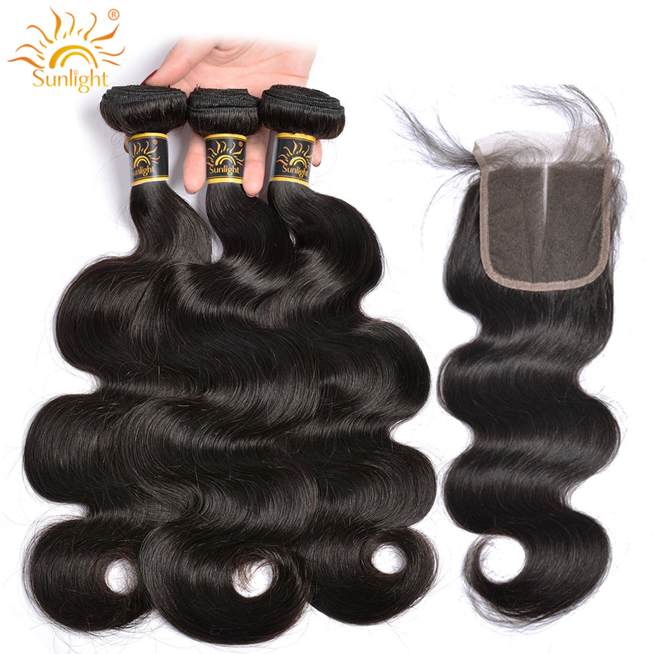 Body Wave Bundles With Closure Peruvian Human Hair 3 Bundles With Closure 4 4 inches Sunlight