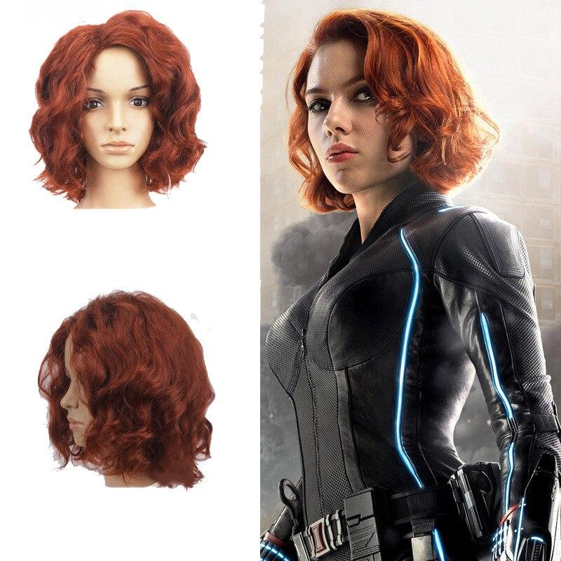 Us 16 59 25 Off Avengers Infinity War Black Widow Cosplay Hair Wig Natasha Romanoff Cosplay Brown Curly Wig Halloween Superhero Women Costume In