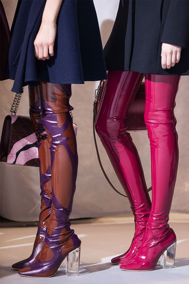 2017 beautiful Women Thigh High Boots 9cm Perspex High Heels Over the Knee Celebrity Shoes Clear Heels Red Blue Black Size 35-42 цена