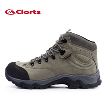 2016 Clorts Men Hiking Shoes HKM-821B Breathable Real Leather Outdoor Trekking Shoes Rubber Anti-slipping Sport Sneakers