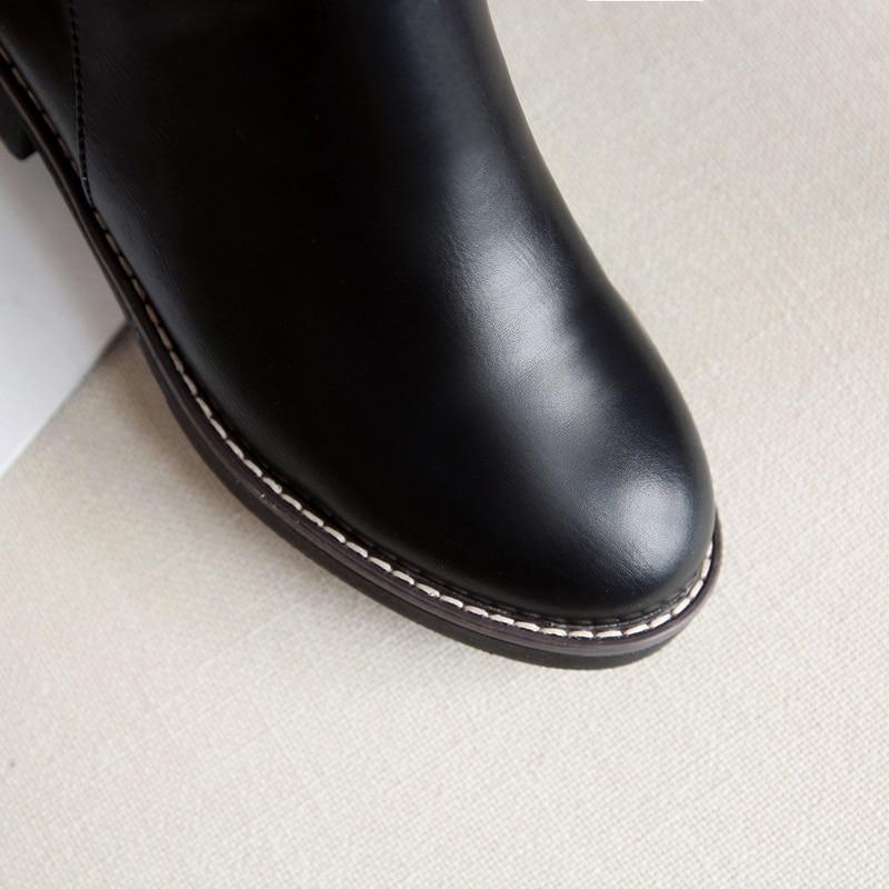 Cuir Hiver Bottes Automne Femmes Genou Carrés En Rond Noir Semelle Haute Black Chaussures Mode Bout Facndinll Femme De 2018 Nouveau Talons Caoutchouc qHpwfI4