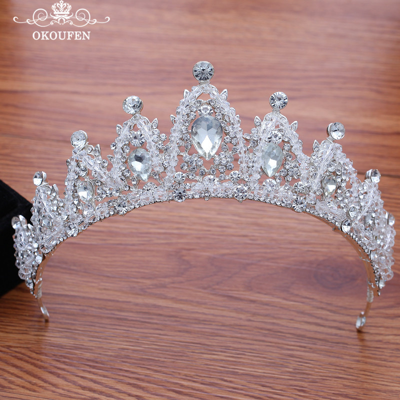Women Wedding Jewelry Crowns Set Necklace Earrings Rhinestone Crystal Hair Accessories Bridal Party Headpiece Headbands in Bridal Headwear from Weddings Events