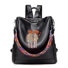 Brand Backpack Women Backpacks Solid Vintage Embroidery School Bags for Girls Black PU Leather Women Backpack mochila H35