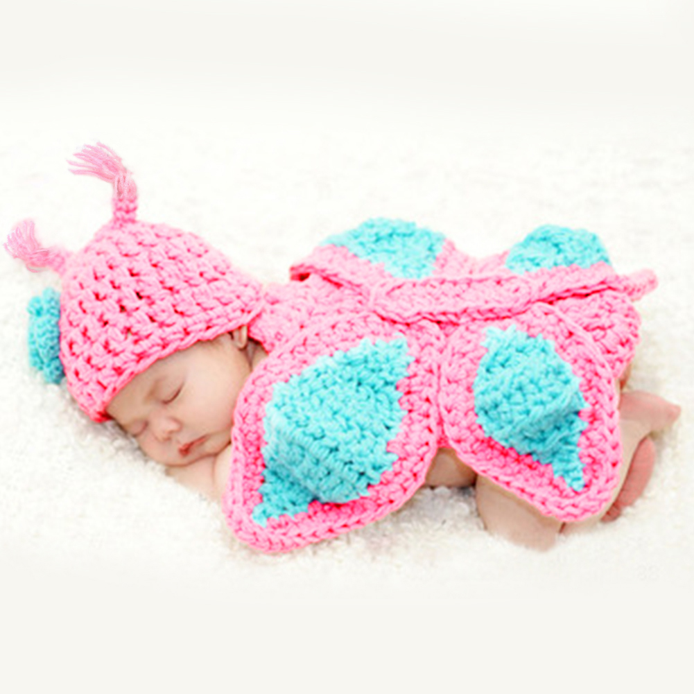 5ef6b6aa3971 Newborn Clothes Crochet Knit Costume Baby Girls Boys Photo Newborn Crochet  Outfits: Baby Photography Photo Prop Butterfly Crochet Knitting