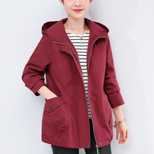 Women Loose Windbreaker Spring Autumn New Short Coat Hooded Zipper Pocket Plus Size 5XL Jac