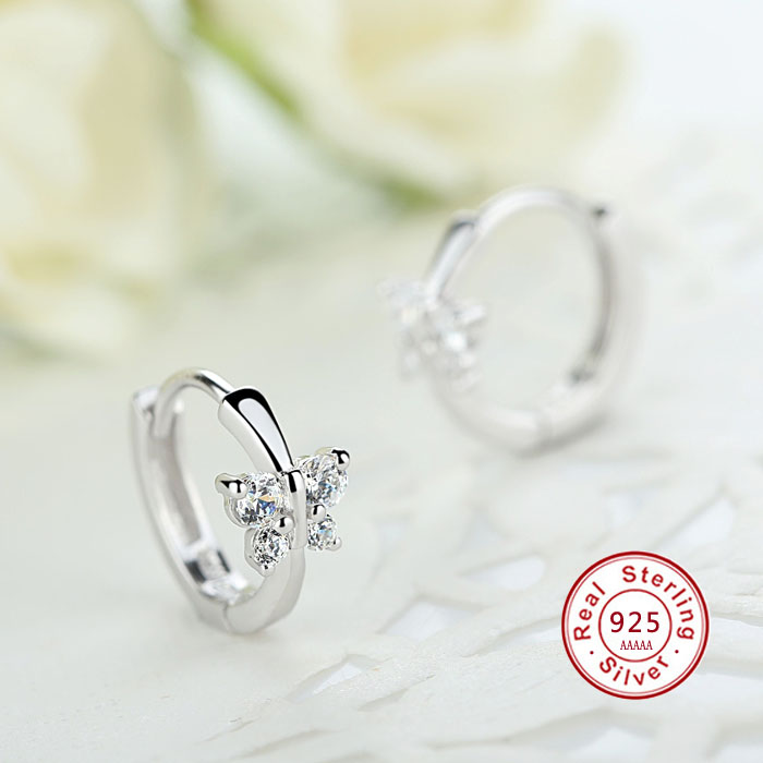 Luxury 925 Sterling Silver Classic Butterfly Austrian Crystal Stone Earrings Bridal Wedding Ceremony Propose Jewellery