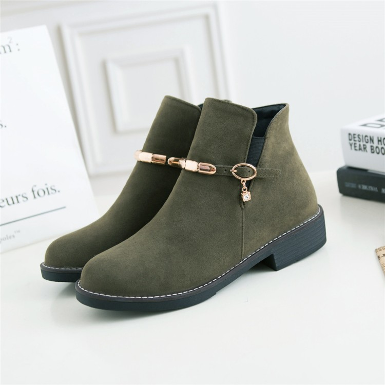 Buy Big Size 9 10 11 12 boots women shoes ankle boots for women ladies boots Buckles thick with for only 74 USD