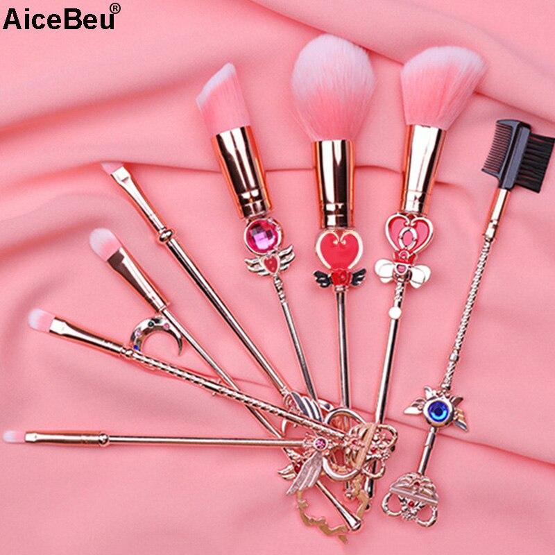 AiceBeu 8Pcs Sakura Sailor Moon Cosmetic Brush Makeup Brushes Set Tools Kit Eye Liner Shader Natural Synthetic Pink Hair Make Up