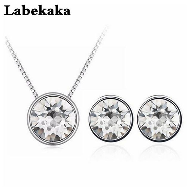 Labekaka Crystal From Swarovski Round Pendant Necklace Stud Earrings Set For Women 2018 Jewelry Mother S