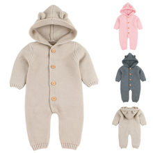 Warm Infant Newborn Baby Boy Girl Knitted Sweater Jumpsuit Hooded Kid Toddler Outerwear Baby Rompers Winter Clothes 2019 New(China)