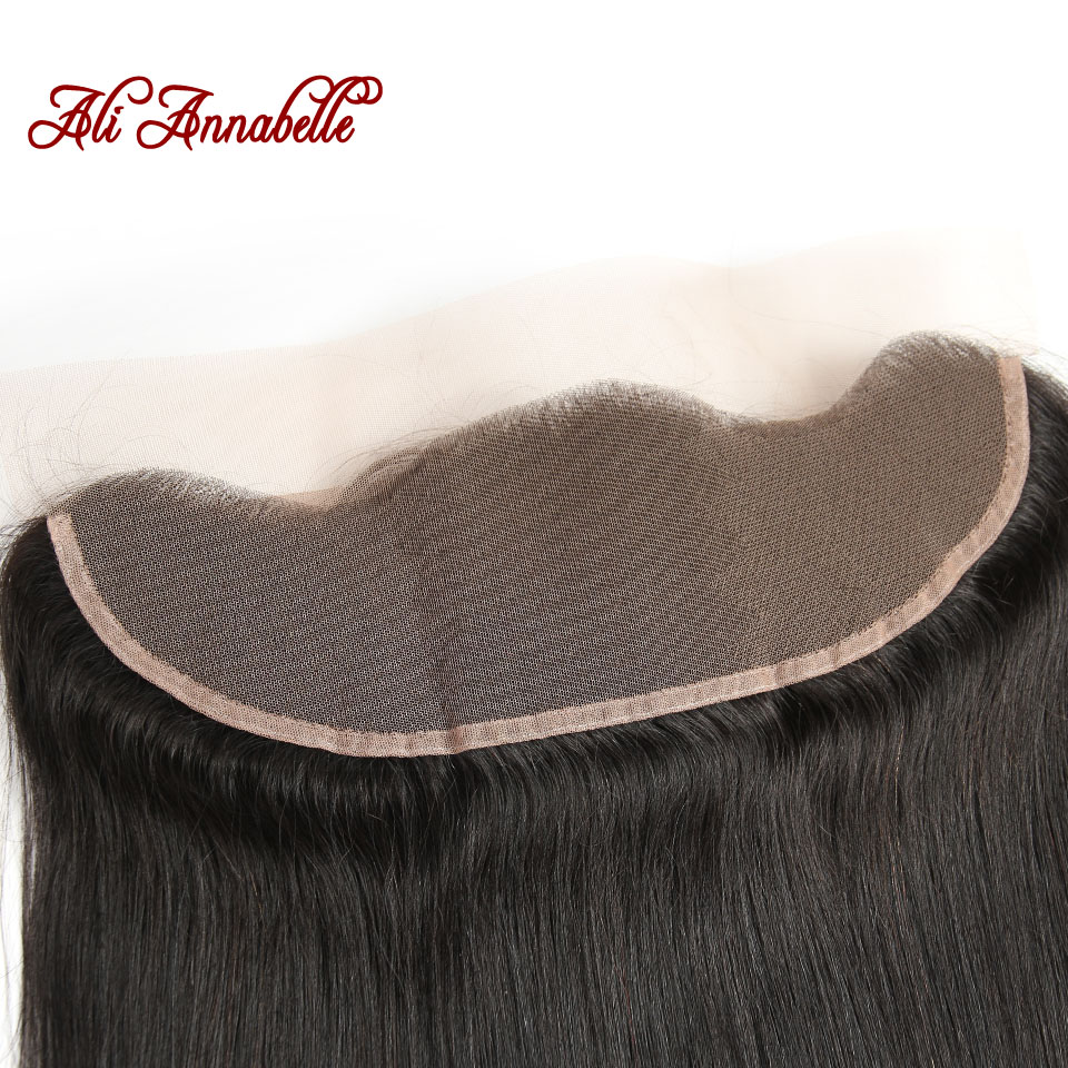 HTB11lzhcAfb uJkHFNRq6A3vpXaL ALI ANNABELLE HAIR Straight Brazilian Human Hair Bundles With Transparent Lace Frontal/Medium Brown 3 Bundles with Lace Closure