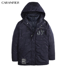 CARANFIER Men Winter Casual Parka Liner Detachable Letter Decoration Camo Thick Jacket Warm Windproof Male Soft Twoway Outerwear
