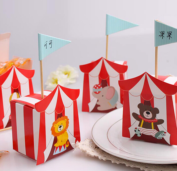 100 pcs Animal Candy Boxes for Carnie Circus Themed Children s Day Birthday Baby First Birthday