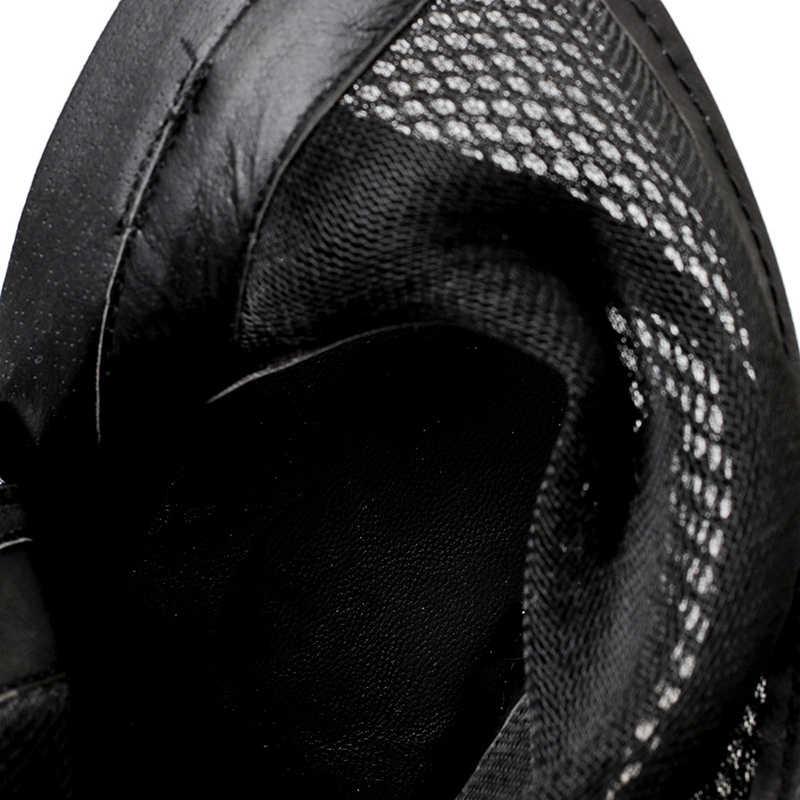 ZSAUAN Frauen Sommer Stiefeletten Casual Peep Toe Schwarz PU Mit Mesh Hohl Schuhe Für Frau Rom Stil Kühlen Stiefel