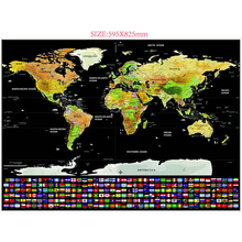 Buy 2PCS 59.5 * 82.5cm Black World Travel Scratch Off Map Personalized Erase World Map Without Tube Creative Decoration Wall Sticker directly from merchant!