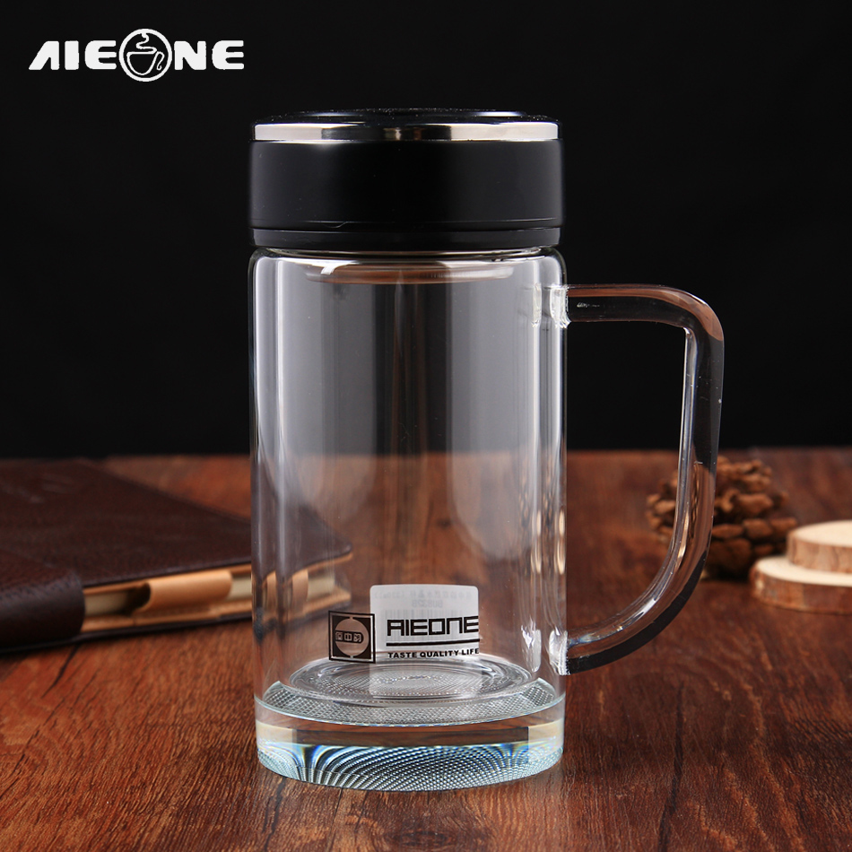 Borosilicate Glass Water Bottle Office Boss Tea Cups with Tea Infuser 320ml Double Layer Crystal Glass