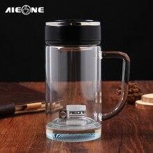 Borosilikatglas Wasserflasche Büro Chef Tee Tassen mit Tee-ei 320 ml Doppelschicht Kristall Glas Chinese Becher