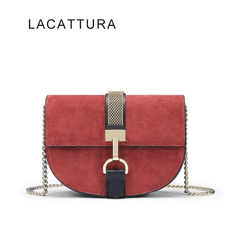 LACATTURA 2017 New It Bag Mild Luxury Brand Design Handbag High Quality Velvet Women Messenger Bag Vintage Small Saddle Bag new vintage luxury brand design 100