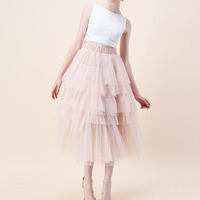 Lovely Tiered Tulle Skirts High Waist Elastic Style Mid-Calf Tutu Skirt Custom Made Sweet Lolita Midi Skirts Stylish Saias