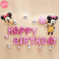25pcs Minnie Mickey Mouse Foil Balloons For Kids Happy Birthday Party Decoration Inflatable Star Letter Balloon