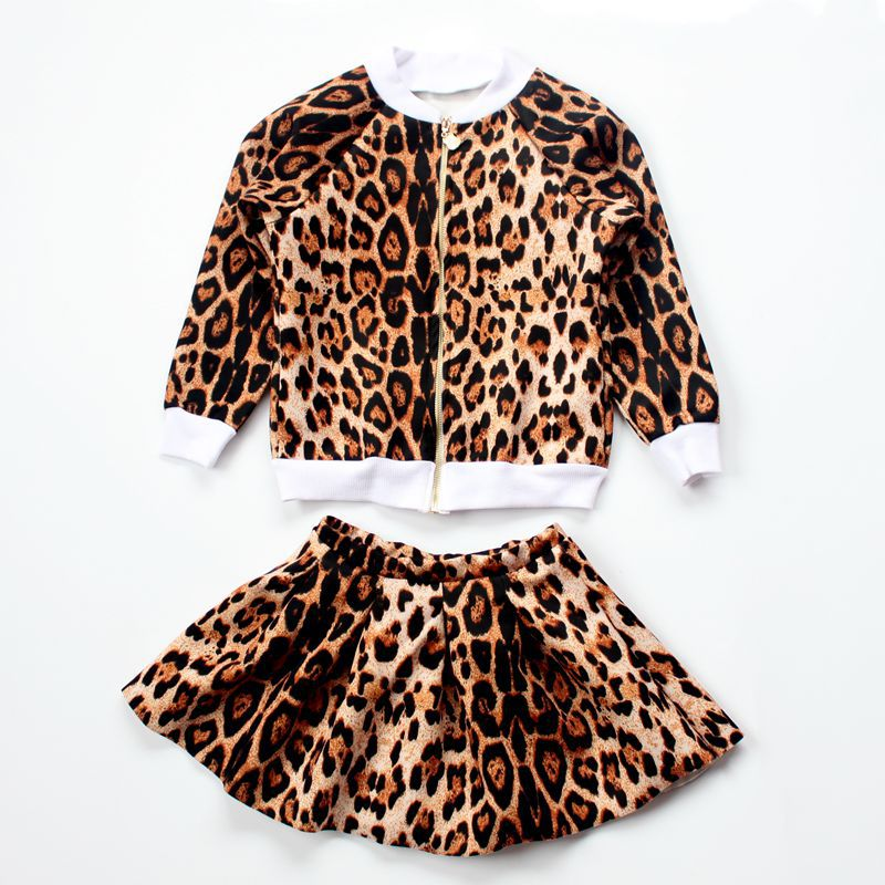 2017 Summer Brand Leopard Striped Cotton Coat and Skirt Set Dress for Girl Children Fashion Suit Good Choice for kid 2-7 Years