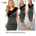 2017 Casual style Office Lady O-neck black white Striped Work Sexy V neck knee-length Business Pencil Bodycon Dress