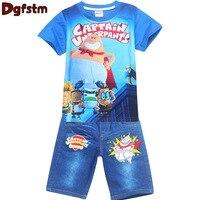 2017 Retail Children Set Cartoon Captain Underpants Fashion Suit Boys Jeans Sets T Shirt Pant 2pcs